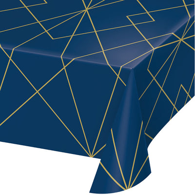 Navy Blue And Gold Foil Plastic Tablecloth by Creative Converting