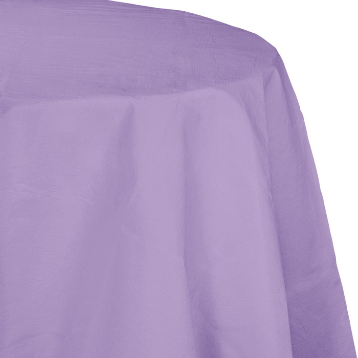 "Luscious Lavender Tablecover, Octy Round 82"" Polylined Tissue by Creative Converting"