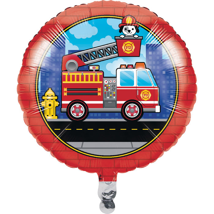 "Flaming Fire Truck Metallic Balloon 18"" by Creative Converting"