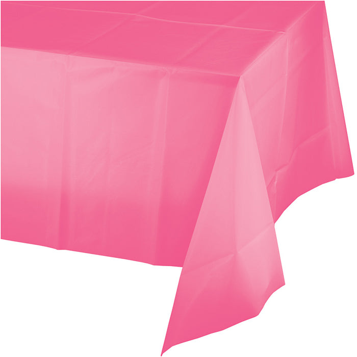 "Candy Pink Plastic Tablecover 54"" X 108"" by Creative Converting"