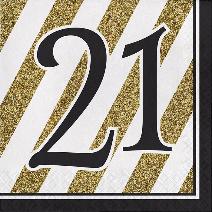 Black And Gold 21st Birthday Napkins, 16 ct by Creative Converting