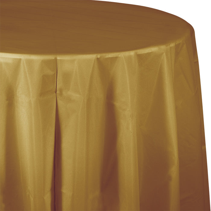 "Glittering Gold Tablecover, Octy Round 82"" Plastic by Creative Converting"