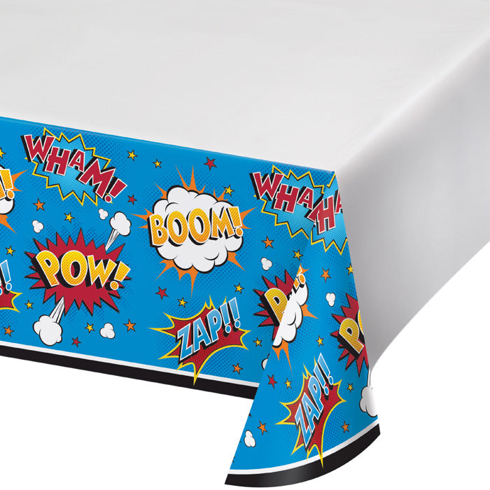 "Superhero Slogans Plastic Tablecover 48"" X 88"" by Creative Converting"