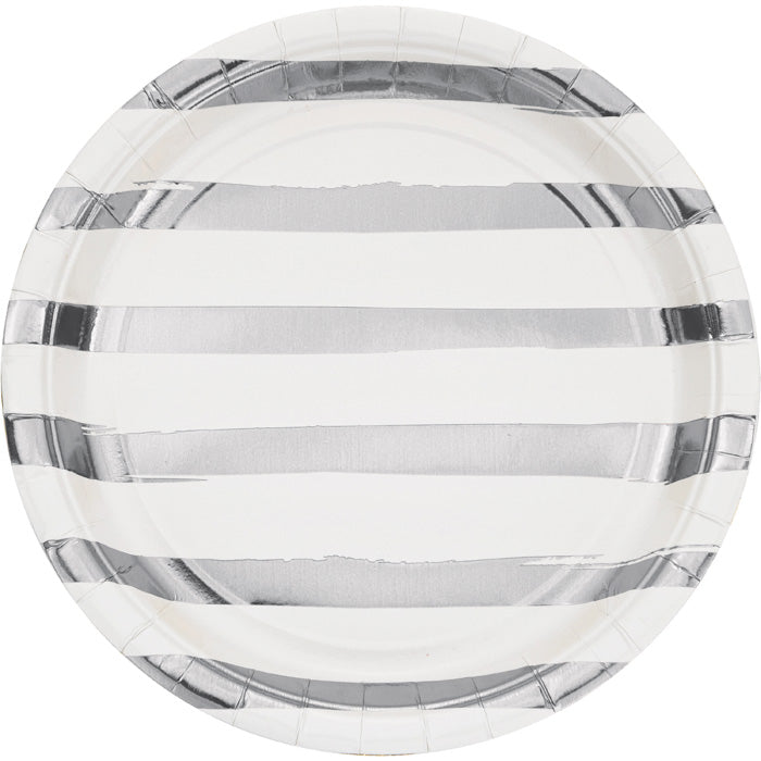 White And Silver Foil Striped Paper Plates, 8 ct by Creative Converting