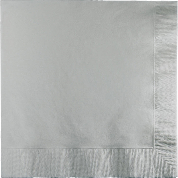 Shimmering Silver Dinner Napkins 3Ply 1/4Fld, 25 ct by Creative Converting