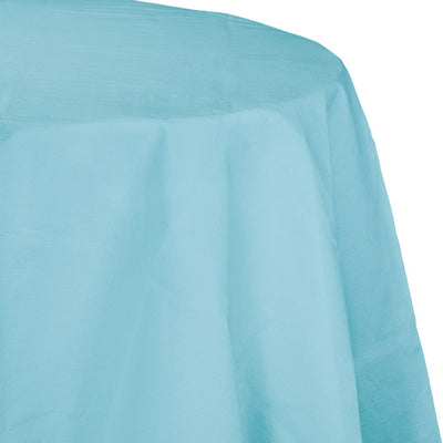 "Pastel Blue Tablecover, Octy Round 82"" Polylined Tissue by Creative Converting"