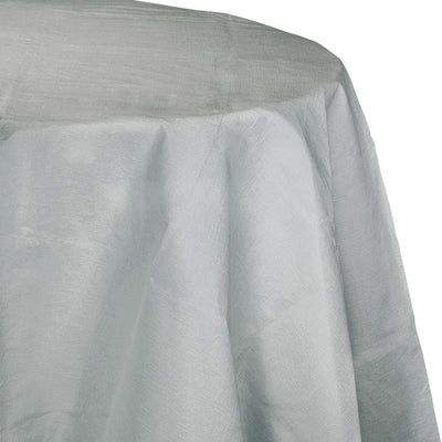 "Shimmering Silver Tablecover, Octy Round 82"" Polylined Tissue by Creative Converting"