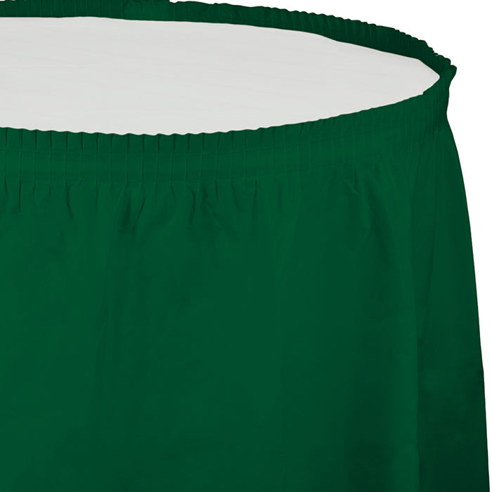 "Hunter Green Plastic Tableskirt, 14' X 29"" by Creative Converting"