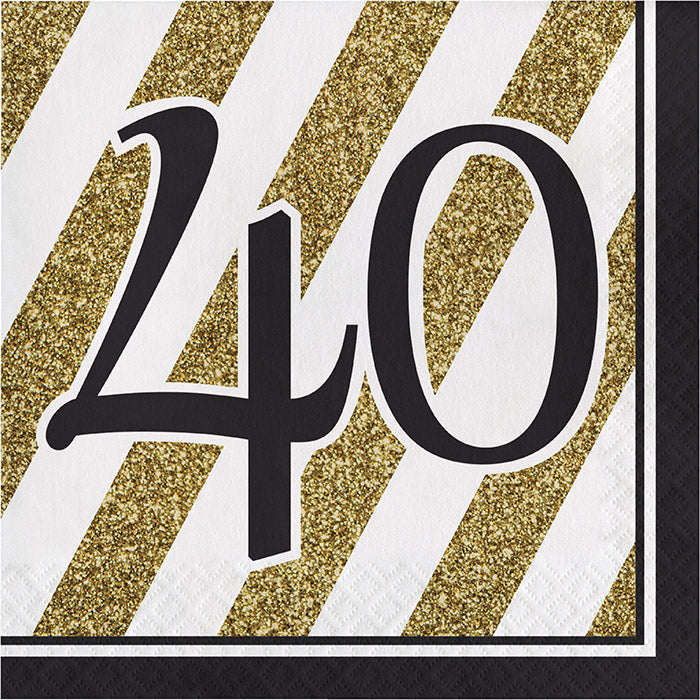 Black And Gold 40th Birthday Napkins, 16 ct by Creative Converting