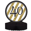 Black And Gold 40th Birthday Centerpiece by Creative Converting
