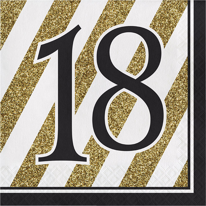 Black And Gold 18th Birthday Napkins, 16 ct by Creative Converting