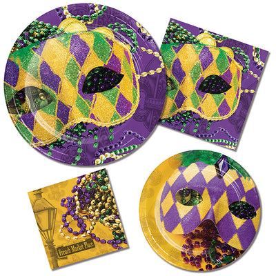 Masks Of Mardi Gras Paper Plates, 8 ct Party Supplies