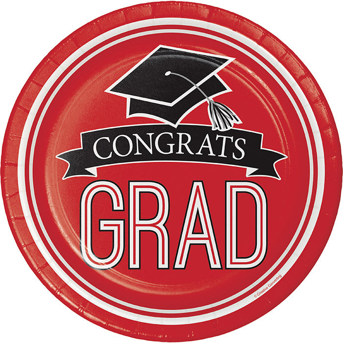 Graduation School Spirit Red Paper Plates, 18 ct by Creative Converting