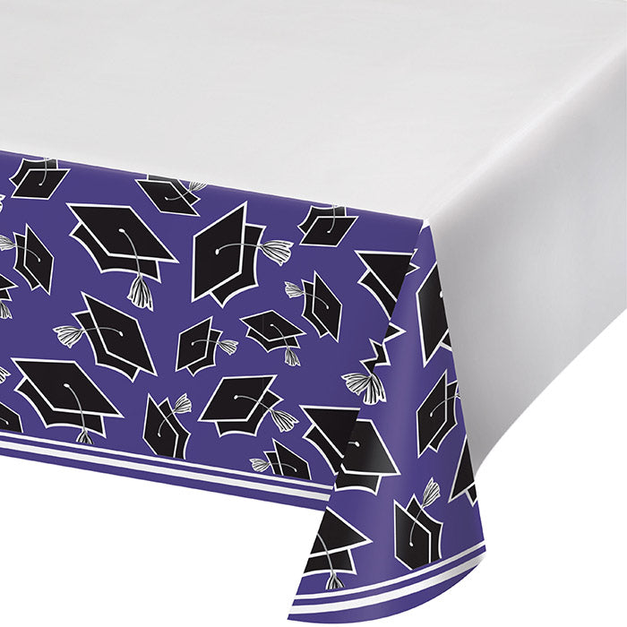 Graduation School Spirit Purple Tablecloth by Creative Converting