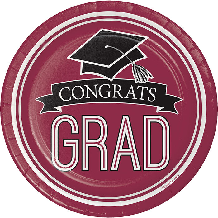 Graduation School Spirit Burgundy Red Paper Plates, 18 ct by Creative Converting