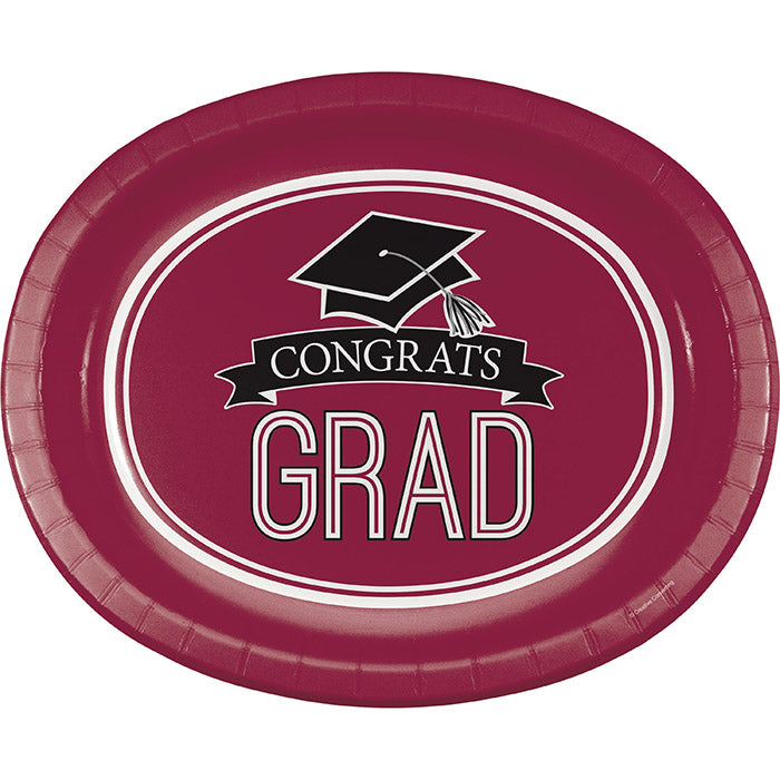 "Graduation School Spirit Burgundy Red Oval Platters, 10"" X 12"", 8 ct by Creative Converting"