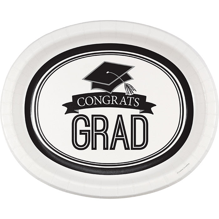 "Graduation School Spirit White Oval Platters, 10"" X 12"", 8 ct by Creative Converting"