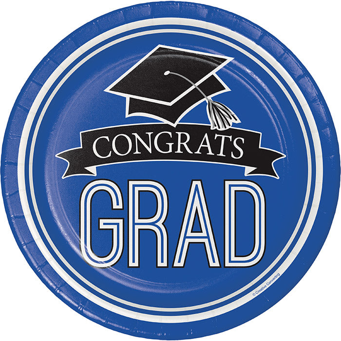 Graduation School Spirit Blue Paper Plates, 18 ct by Creative Converting