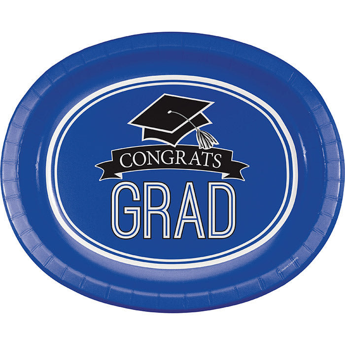 "Graduation School Spirit Blue Oval Platters, 10"" X 12"", 8 ct by Creative Converting"