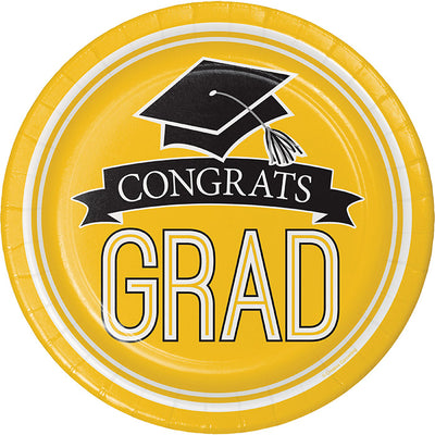 Graduation School Spirit Yellow Paper Plates, 18 ct by Creative Converting
