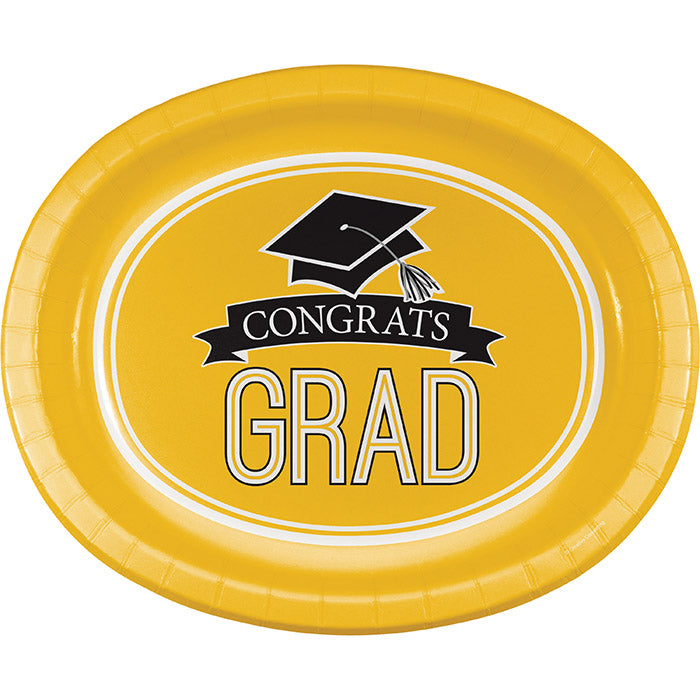 "Graduation School Spirit Yellow Oval Platters, 10"" X 12"", 8 ct by Creative Converting"