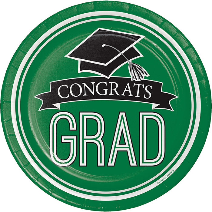 Graduation School Spirit Green Paper Plates, 18 ct by Creative Converting