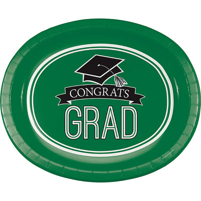 "Graduation School Spirit Green Oval Platters, 10"" X 12"", 8 ct by Creative Converting"