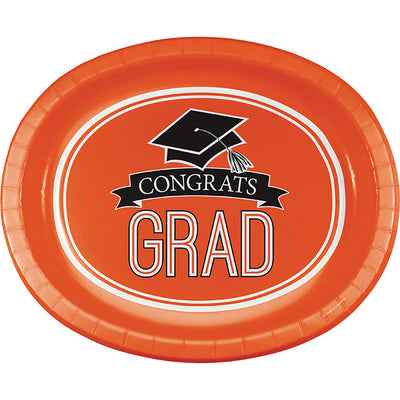 "Graduation School Spirit Orange Oval Platters, 10"" X 12"", 8 ct by Creative Converting"