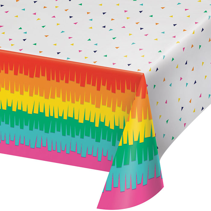 "Fiesta Fun Plastic Tablecover All Over Print, 54"" X 102"" by Creative Converting"