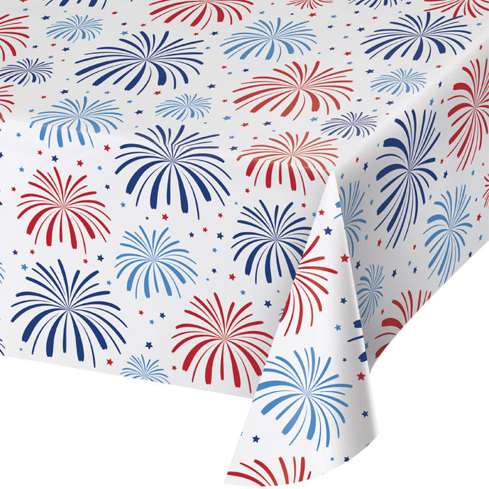 "Patriotic Patterns Plastic Tablecover, 54"" X 102"" All Over Print by Creative Converting"