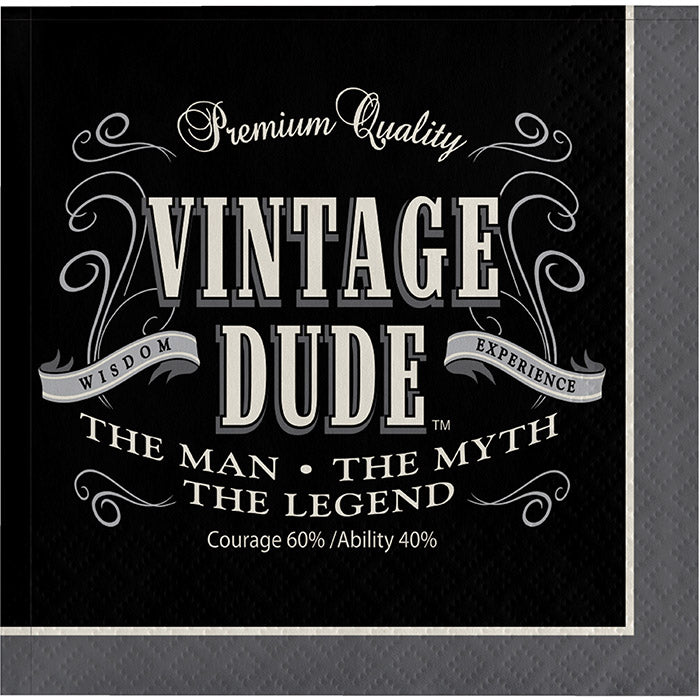 Vintage Dude Beverage Napkin, 3 Ply, 16 ct by Creative Converting