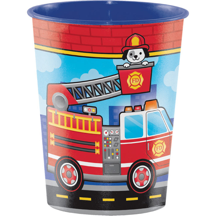 Flaming Fire Truck Plastic Keepsake Cup 16 Oz. by Creative Converting