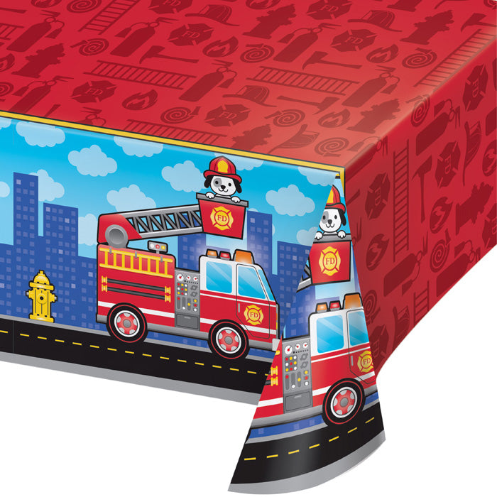 "Flaming Fire Truck Plastic Tablecover All Over Print, 54"" X 102"" by Creative Converting"