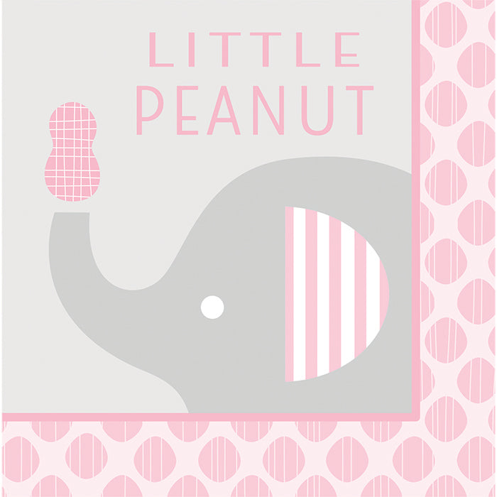 """Little Peanut"" Girl Elephant Napkins, 16 ct by Creative Converting"