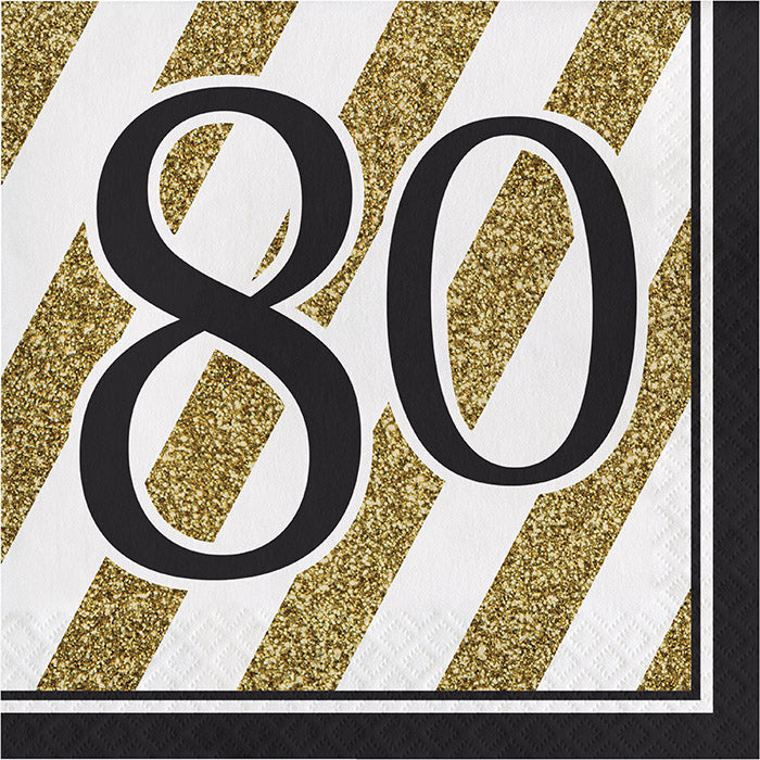 Black And Gold 80th Birthday Napkins, 16 ct by Creative Converting
