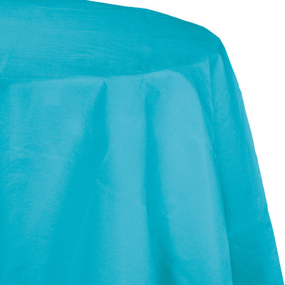 "Bermuda Blue Tablecover, Octy Round 82"" Polylined Tissue by Creative Converting"