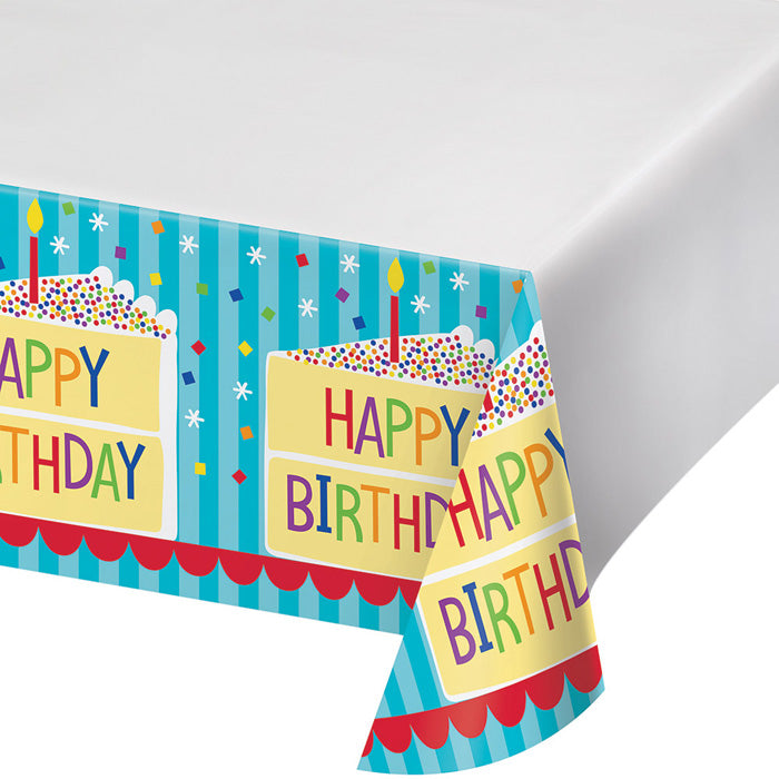 "Cake Birthday Plastic Tablecover 48"" X 88"" by Creative Converting"