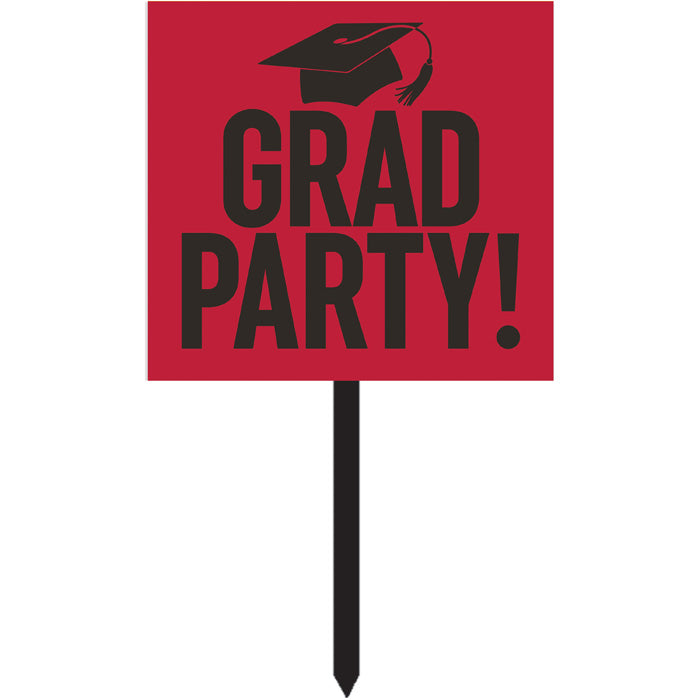 Red Graduation Yard Sign by Creative Converting