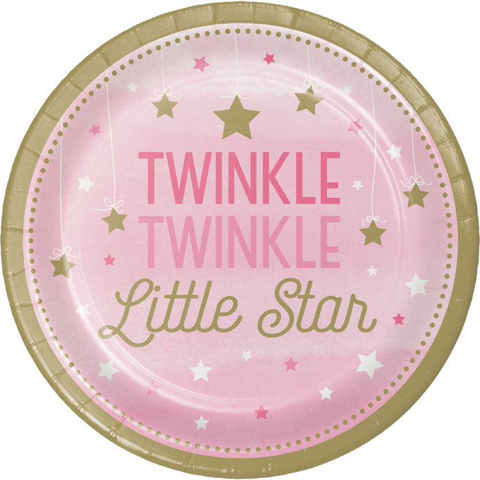 One Little Star Girl Paper Plates, 8 ct by Creative Converting
