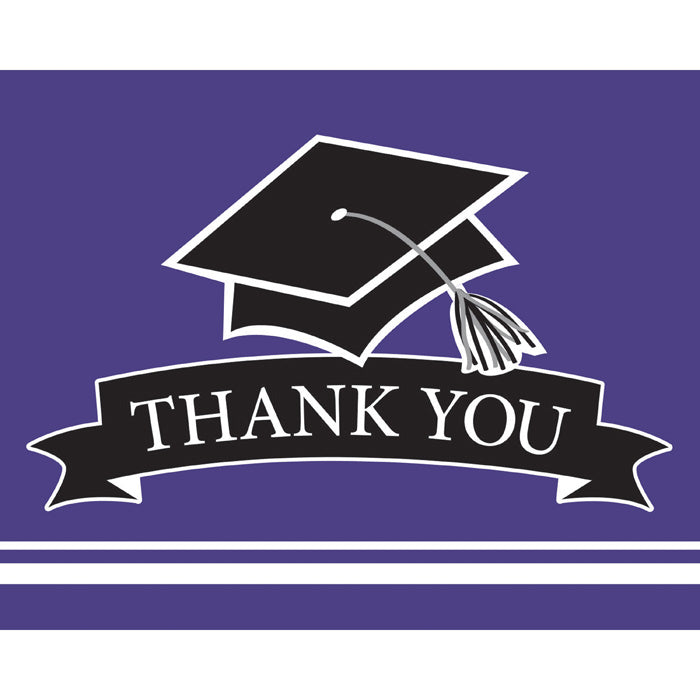 Graduation School Spirit Purple Thank You Notes, 25 ct by Creative Converting