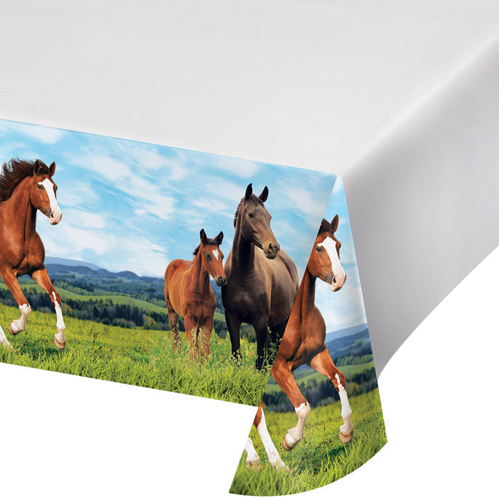 "Horse And Pony Plastic Tablecover Border Print, 54"" X 102"" by Creative Converting"