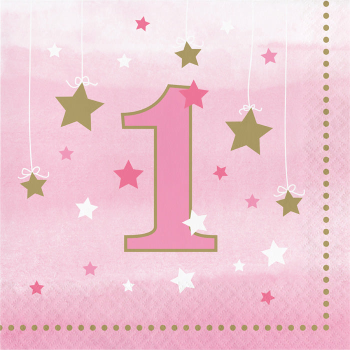 One Little Star Girl 1st Birthday Napkins, 16 ct by Creative Converting