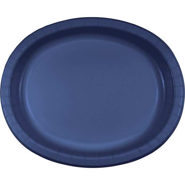 "Navy Oval Platter 10"" X 12"", 8 ct by Creative Converting"