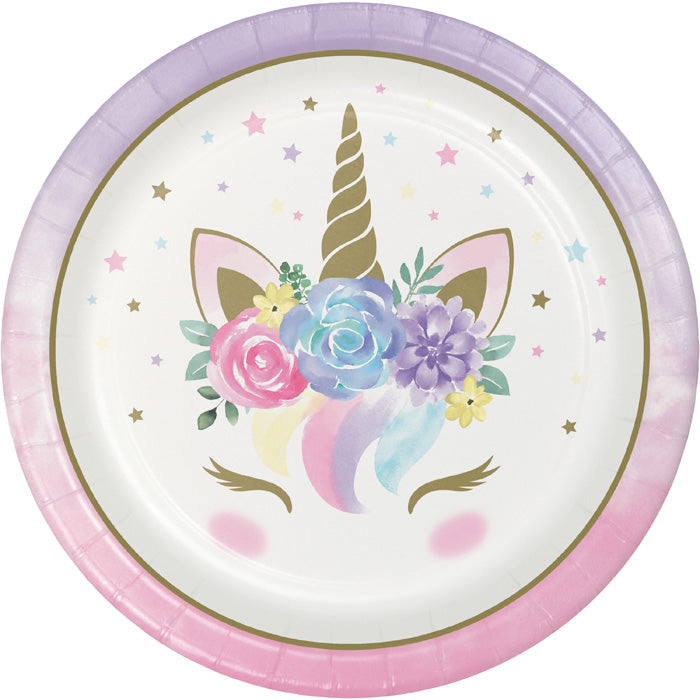 Unicorn Baby Shower Paper Plates, Pack Of 8 by Creative Converting