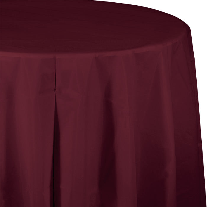 "Burgundy Tablecover, Octy Round 82"" Plastic by Creative Converting"