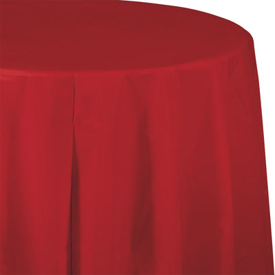 "Classic Red Tablecover, Octy Round 82"" Plastic by Creative Converting"