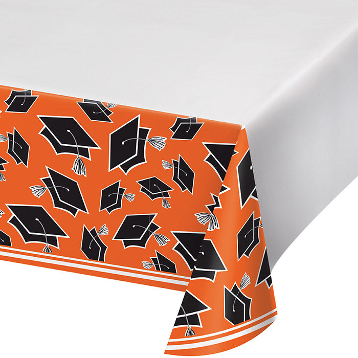 Graduation School Spirit Orange Tablecloth by Creative Converting