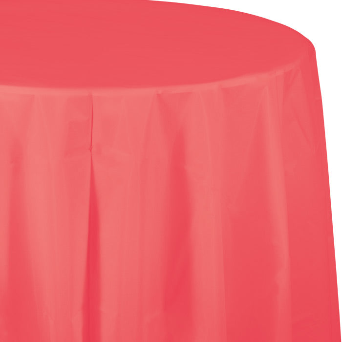 "Coral Tablecover, Octy Round 82"" Plastic by Creative Converting"