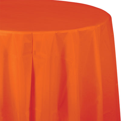 "Sunkissed Orange Tablecover, Octy Round 82"" Plastic by Creative Converting"