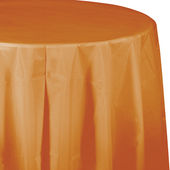 "Pumpkin Spice Tablecover, Octy Round 82"" Plastic by Creative Converting"